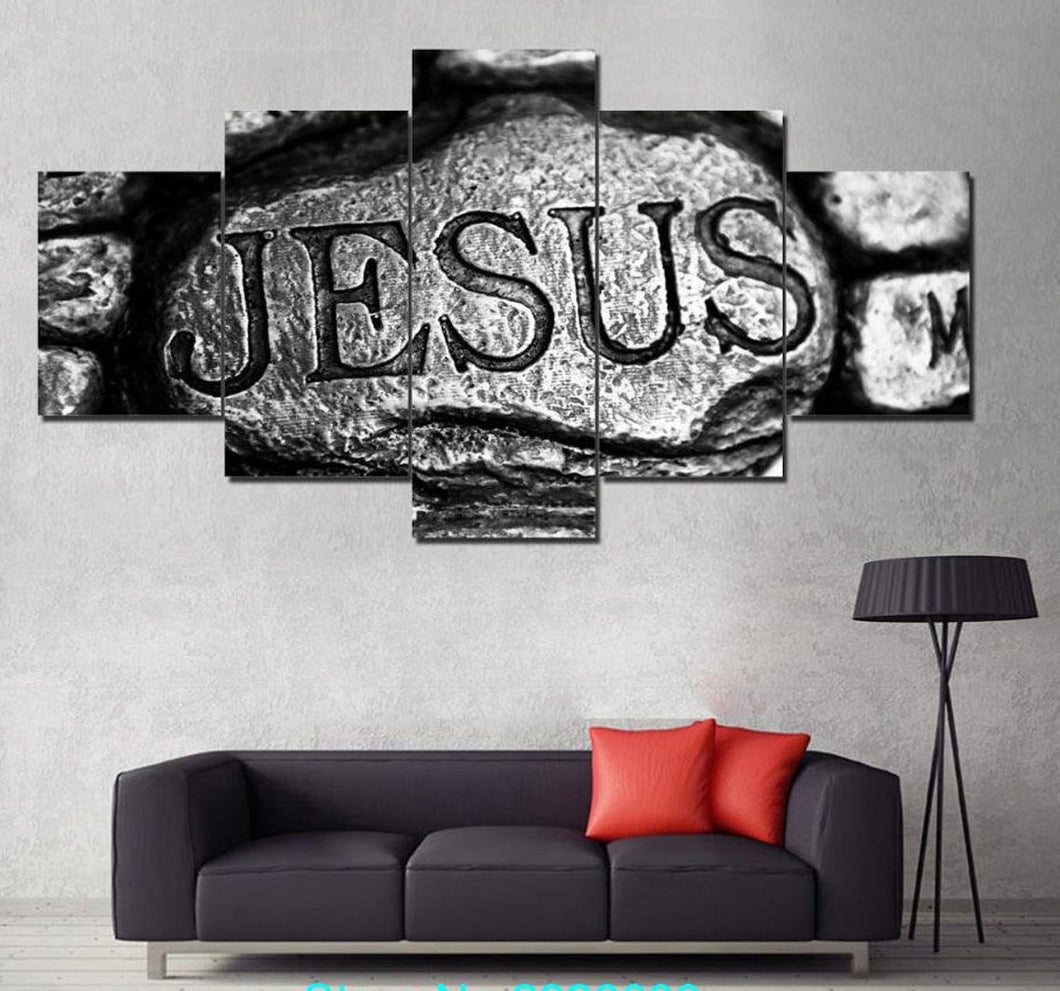 Jesus is my Rock Christian Five Piece Canvas Wall Art Home Decor Multi Panel 5