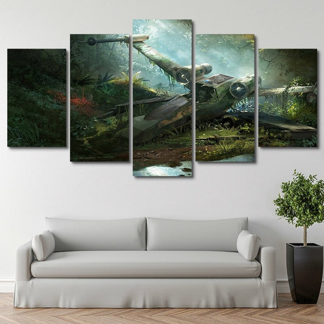 X-Wing Destroyed Star Wars Five Piece Canvas Wall Art Home Decor Multi Panel 5