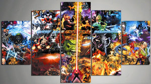 Marvel Comics Montage Five Piece Canvas Wall Art Home Decor Multi Panel 5
