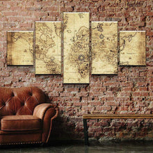Old Rustic World Map Five Piece Canvas Wall Art Home Decor Multi Panel 5