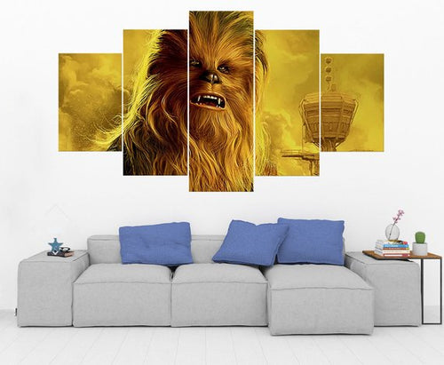 Chewbacca Star Wars Canvas Five Piece Wall Art Print Home Decor - The Force Gallery