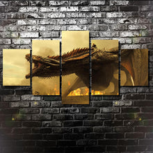Dragon Game of Thrones Targaryen Large Five Piece Canvas Wall Art Home Decor - The Force Gallery