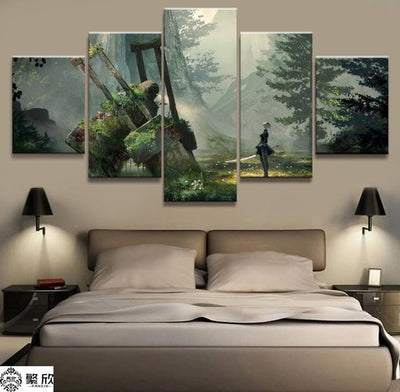 Large Framed NieR Automata 2B 5 Piece Canvas Print Wall Art Home - The Force Gallery