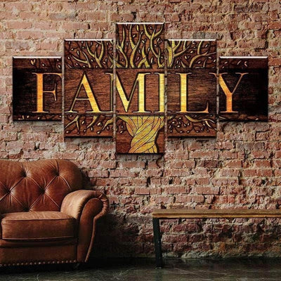 Family Tree Five Piece Canvas Wall Art Home Decor Multi Panel 5