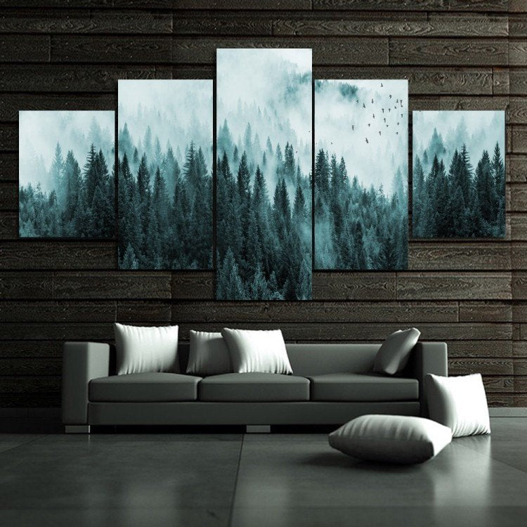 Trees Fog Nordic Forest 5 Piece Canvas Print Wall Art Home - The Force Gallery