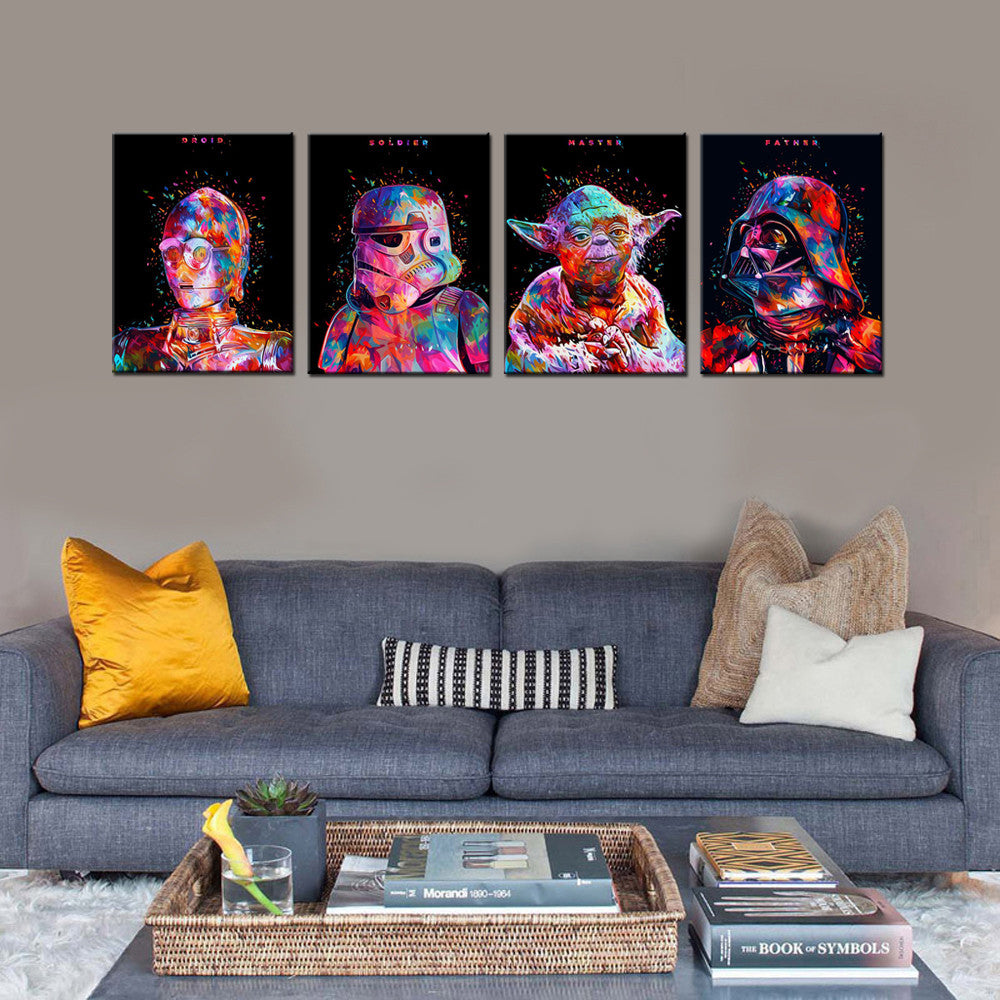 4pc HD Printed Star Wars Painting - The Force Gallery