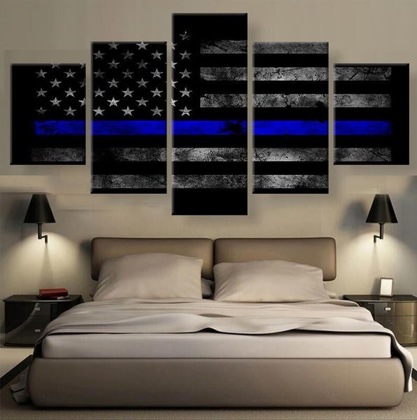 American Flag with Police Blue Line Police lives matter