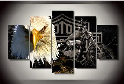 Harley Davidson with Bald Eagle - The Force Gallery