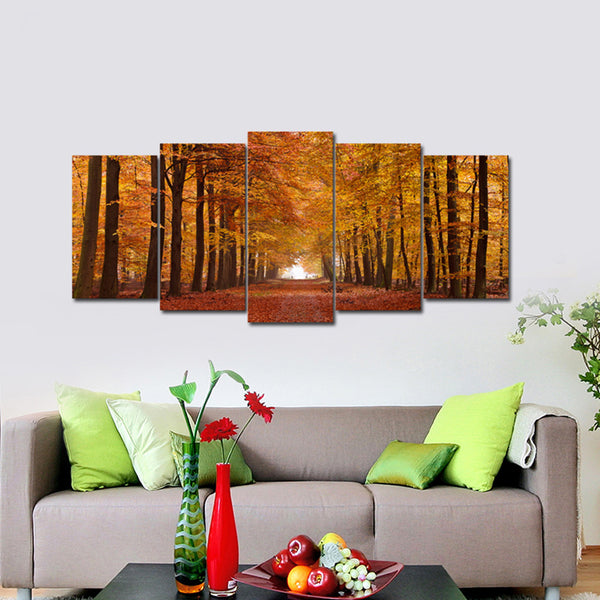 5 Panels Autumn Forest