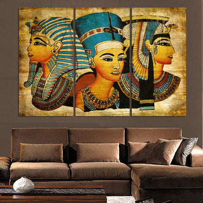3 Pieces Pharaoh Of Ancient Egypt Wall Art - The Force Gallery
