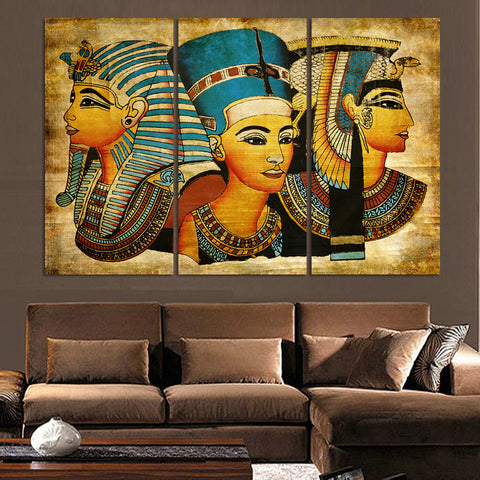 3 Pieces Pharaoh Of Ancient Egypt Wall Art