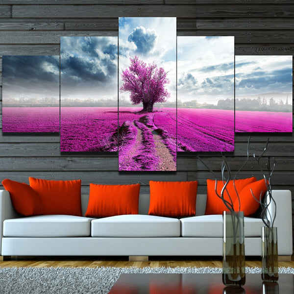 Pink Lavender Flowers Canvas with Tree