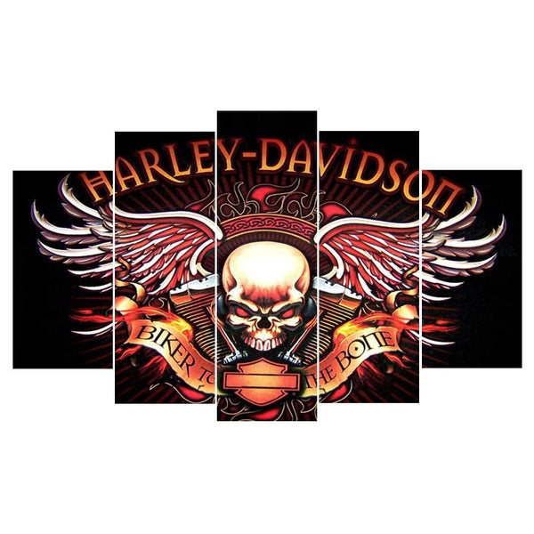 Large Framed Harley Davidson Motorcycles Skull Canvas Print - The Force Gallery