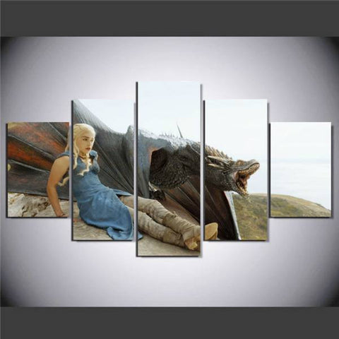 Large Framed Game of Thrones Dragon Canvas Print - The Force Gallery