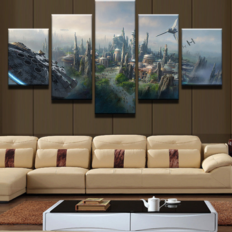 Star Wars City Millennium Falcon Canvas Print - The Force Gallery