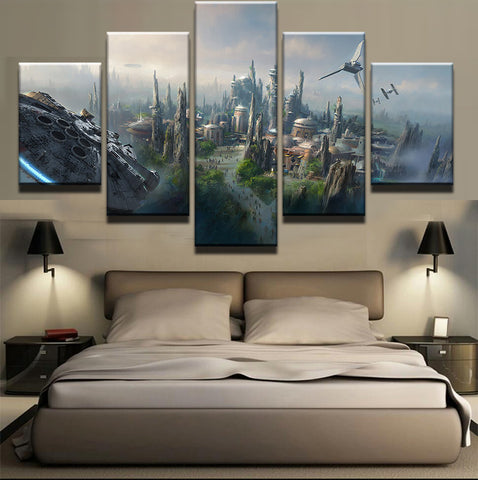 Large Framed Star Wars City Millennium Falcon Canvas Print - The Force Gallery