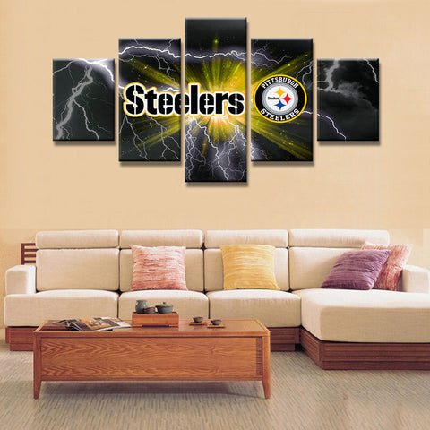 Large Framed Pittsburgh Steelers Football Canvas Print Wall Art Five Piece Home Decor - The Force Gallery