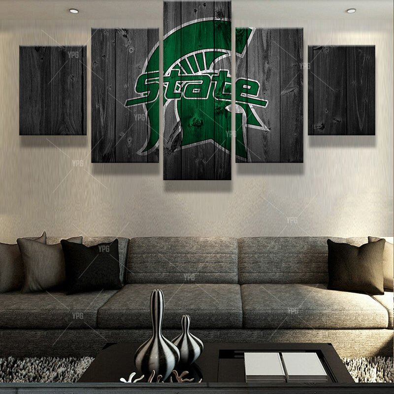 Michigan State Spartans College Football Barn Wood Style Print (not actual barnwood) - The Force Gallery