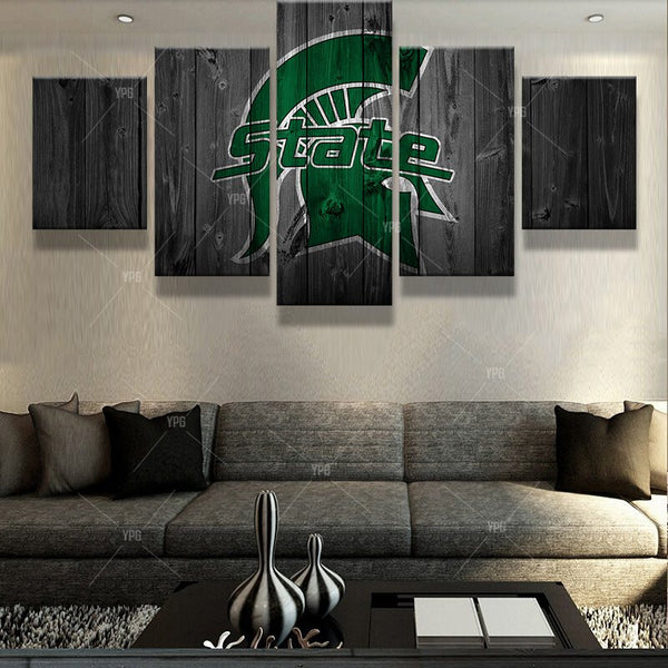 Michigan State Spartans College Football Barn Wood Style Print (not actual barnwood)