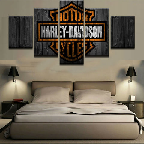 Large Framed Harley Davidson Motorcycles Canvas Barn Wood Style - The Force Gallery