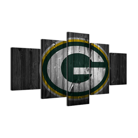 Large Framed Green Bay Packers Football Canvas Barn Wood Style - The Force Gallery