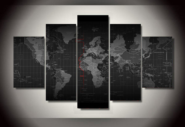 Time Zone World Map Canvas Print Five Piece Wall Art Home Decor