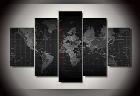 Large Framed Time Zone World Map Canvas Print Five Piece Wall Art Home Decor - The Force Gallery