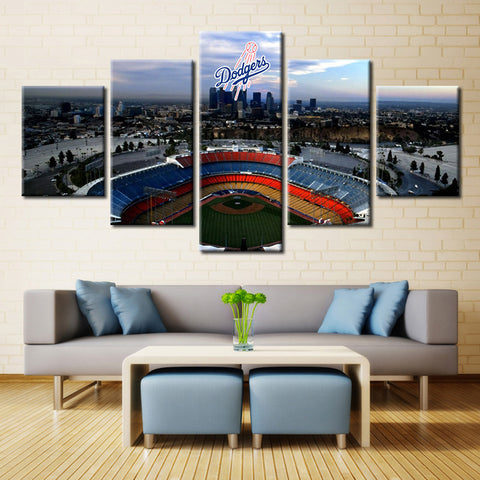 Large Framed Los Angeles Dodgers Stadium Baseball Canvas - The Force Gallery