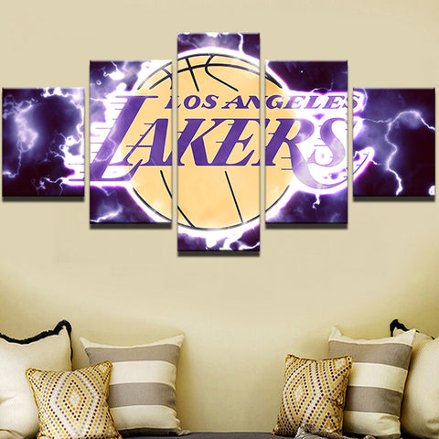 Large Framed Los Angeles Lakers Canvas Print Five Piece Wall Art Home Decor - The Force Gallery
