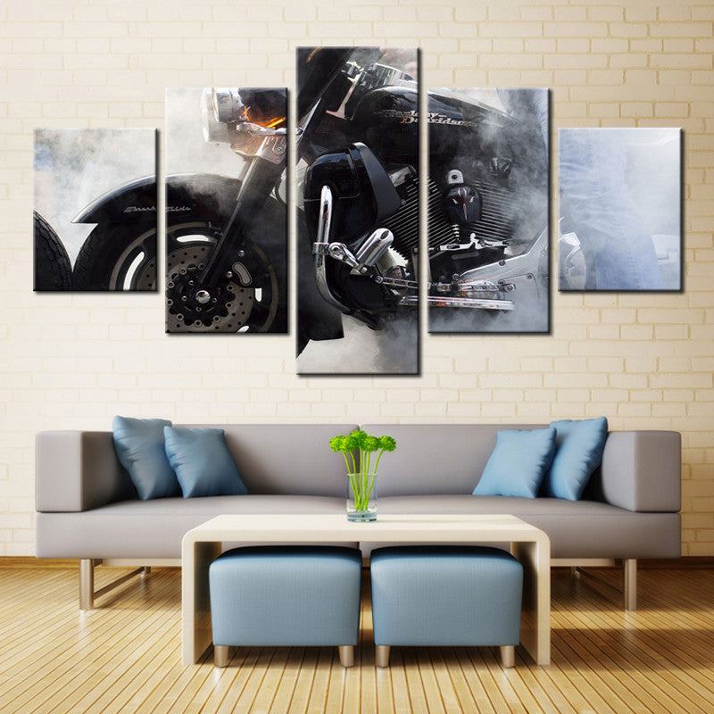 Merveilleux Harley Davidson Motorcycle Smoke Canvas Print Five Piece Wall Art