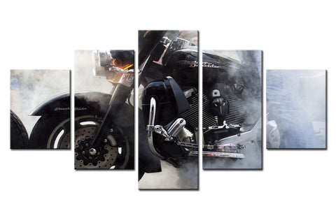 Large Framed Harley Davidson Motorcycle Smoke Canvas Print Five Piece Wall Art - The Force Gallery