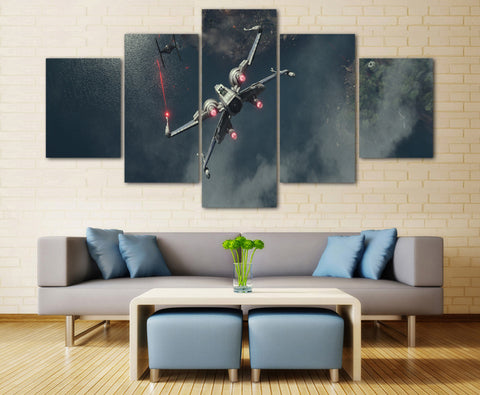 Star Wars Rogue One X-Wing Fight Canvas Print