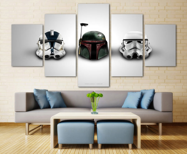 Large Framed Star Wars Boba Fett Stormtrooper Canvas Print