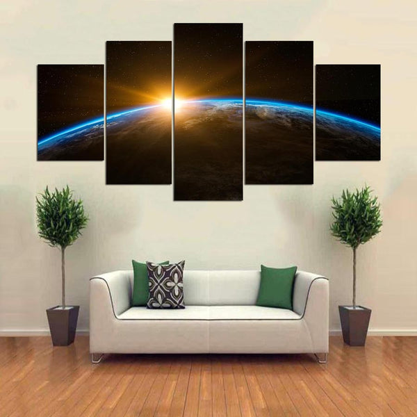 Sunset Earth Space Canvas