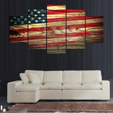American Flag Wood Look Canvas - The Force Gallery
