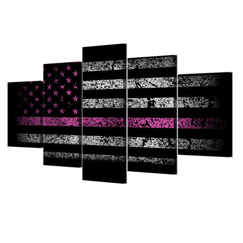 American Flag with Pink Line