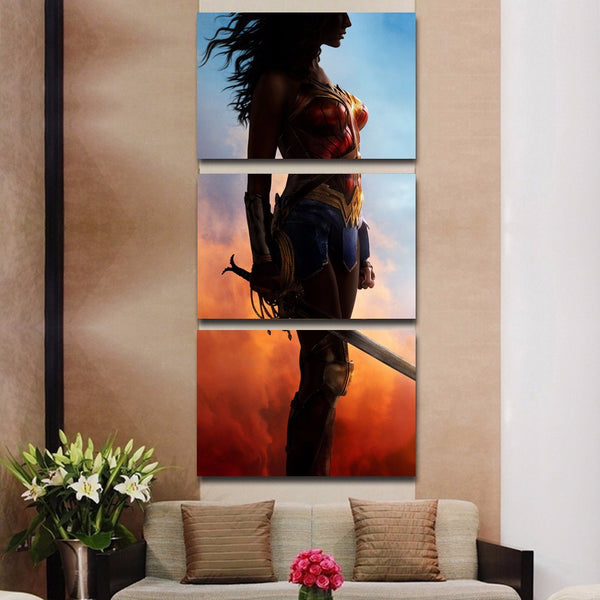 Large Framed Wonder Woman Three Piece Canvas