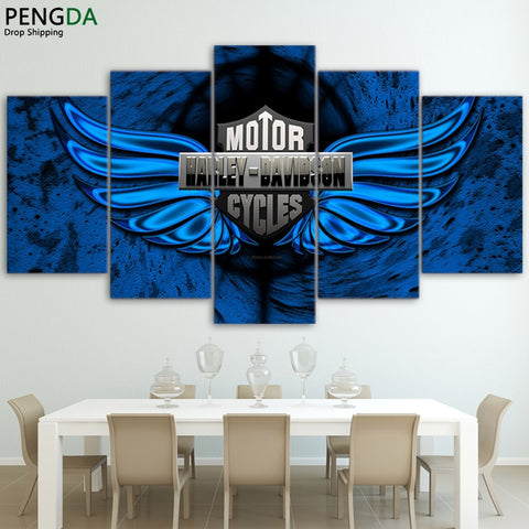 Blue Harley Davidson Canvas