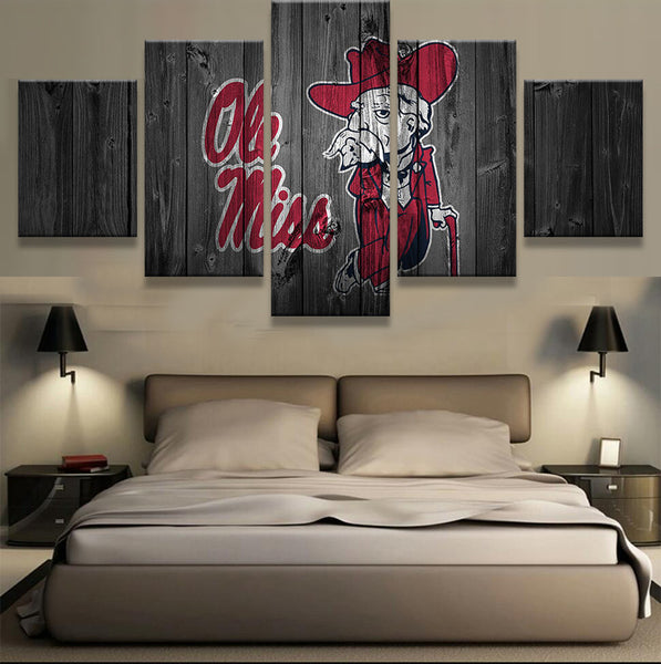 Ole Miss Barnwood style canvas Mississippi College