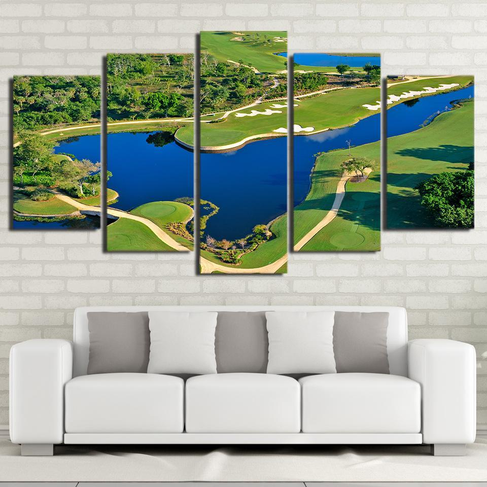 Golf Course Lake Five Piece Canvas Wall Art Home Decor Multi Panel - The Force Gallery
