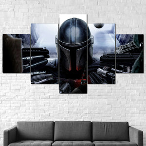 Copy of The Mandalorian Star Wars Five Piece Canvas Wall Art Home Decor Framed