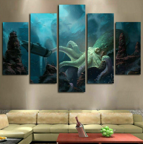 Kraken Octopus Ocean Five Piece Canvas Wall Art Home Decor Multi Panel 5