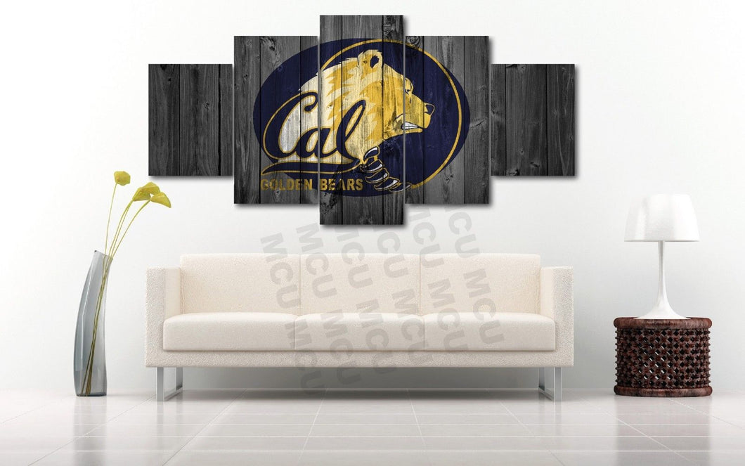 California Golden Bears College Barnwood Style Five Piece Canvas - The Force Gallery