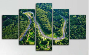 Nurburgring Track Circuit Rally Racing Five Piece Canvas Wall Art Home Decor Framed