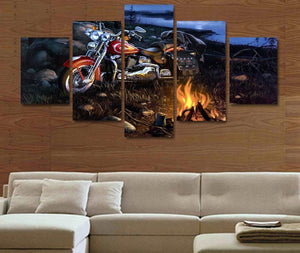 Harley Davidson on the Road Campfire Canvas - The Force Gallery