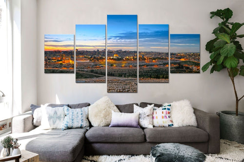 Jerusalem Holy City Five Piece Panel Canvas Print - The Force Gallery