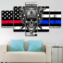 Harley Davidson Skull American Flag Five Piece Canvas Wall Art Home Decor - The Force Gallery