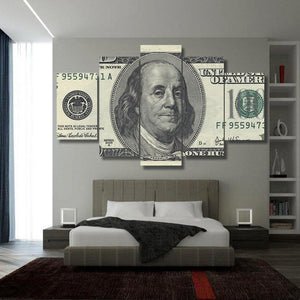 100 Dollar Bill Money Cash Five Piece Canvas Print Wall Home Decor - The Force Gallery
