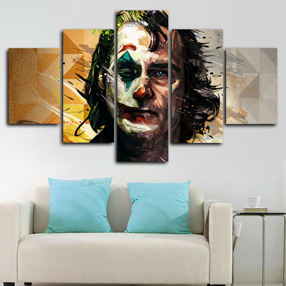 Joker Joaquin Phoenix Comic Five Piece Canvas Wall Art Home Decor Multi Panel 5 - The Force Gallery