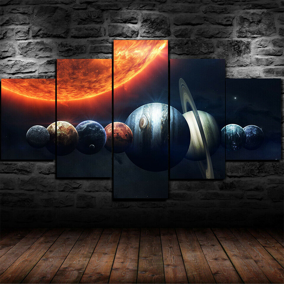Solar System Planets Sun Space Five Piece Canvas Wall Art Home Decor Multi Panel 5